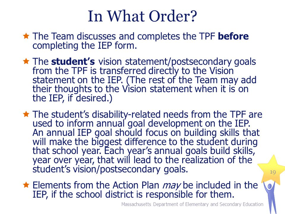 In What Order The Team discusses and completes the TPF before completing the IEP form.