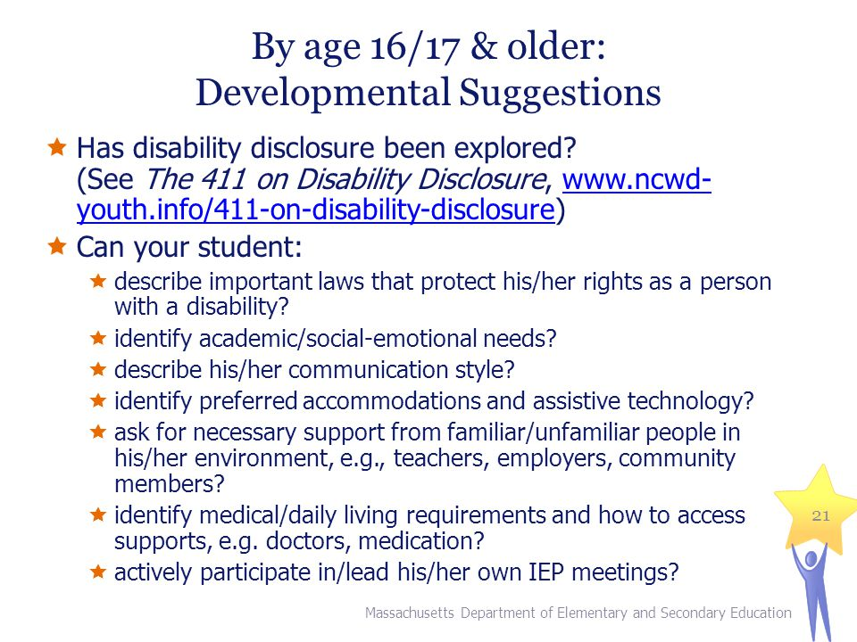 By age 16/17 & older: Developmental Suggestions