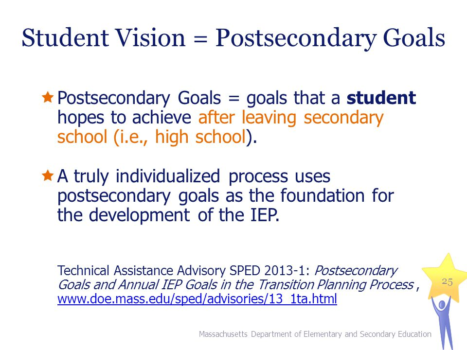 Student Vision = Postsecondary Goals
