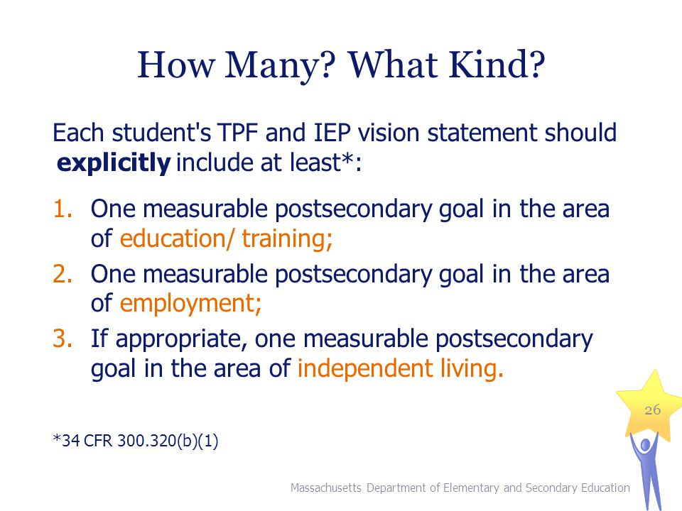 How Many What Kind Each student s TPF and IEP vision statement should explicitly include at least*: