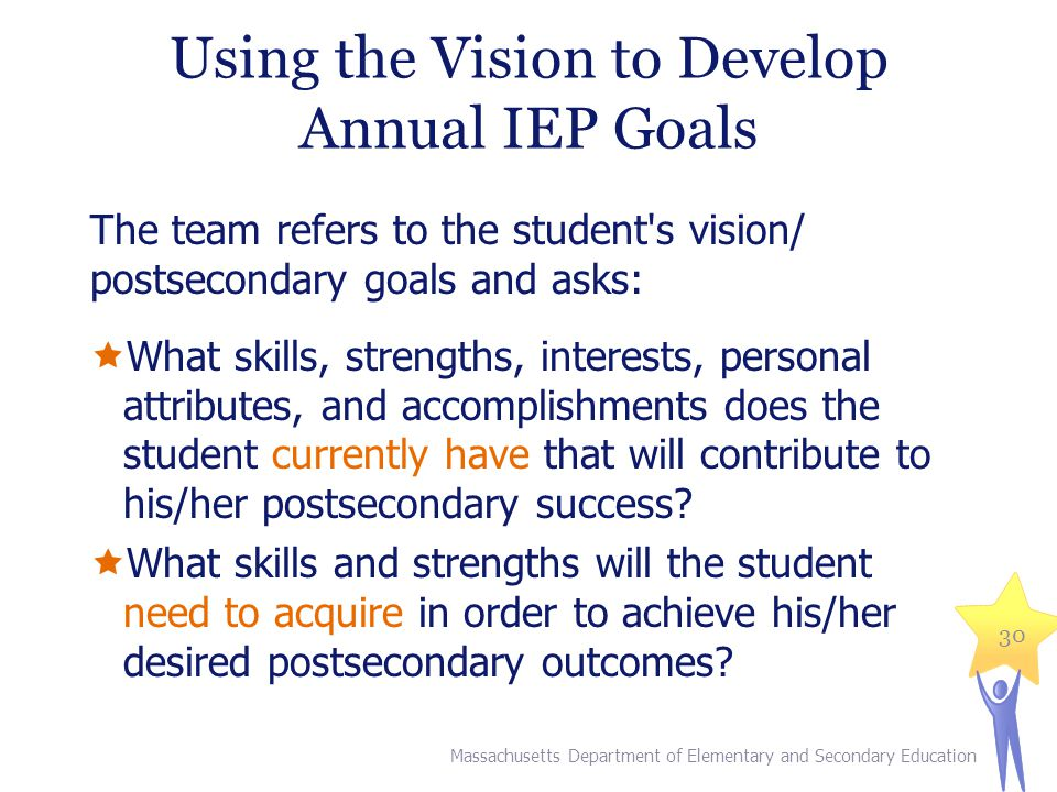 Using the Vision to Develop Annual IEP Goals