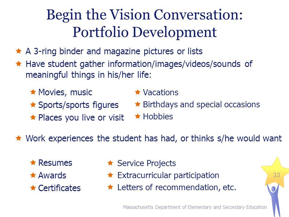 Begin the Vision Conversation: Portfolio Development
