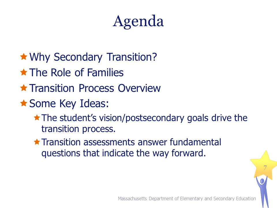 Agenda Why Secondary Transition The Role of Families