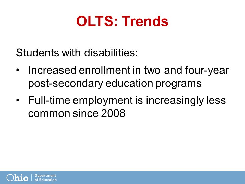 OLTS: Trends Students with disabilities: