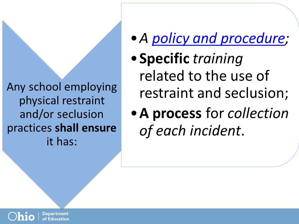 Any school employing physical restraint and/or seclusion practices shall ensure it has: