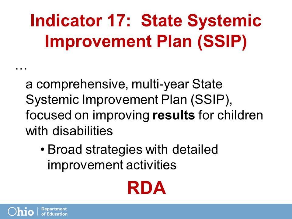 Indicator 17: State Systemic Improvement Plan (SSIP)
