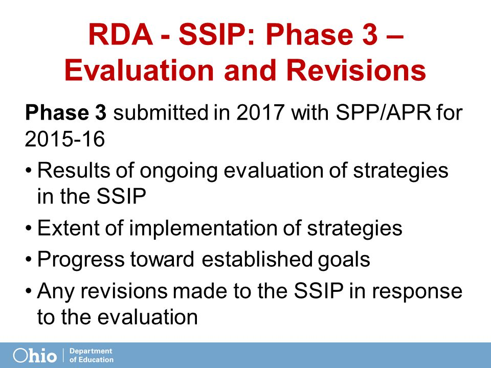 RDA - SSIP: Phase 3 – Evaluation and Revisions