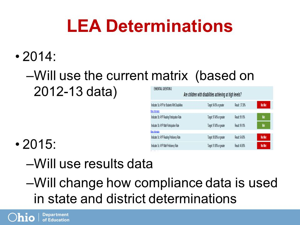 LEA Determinations 2014: Will use the current matrix (based on 2012-13 data) 2015: Will use results data.