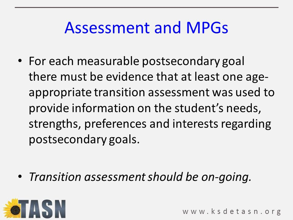 Assessment and MPGs