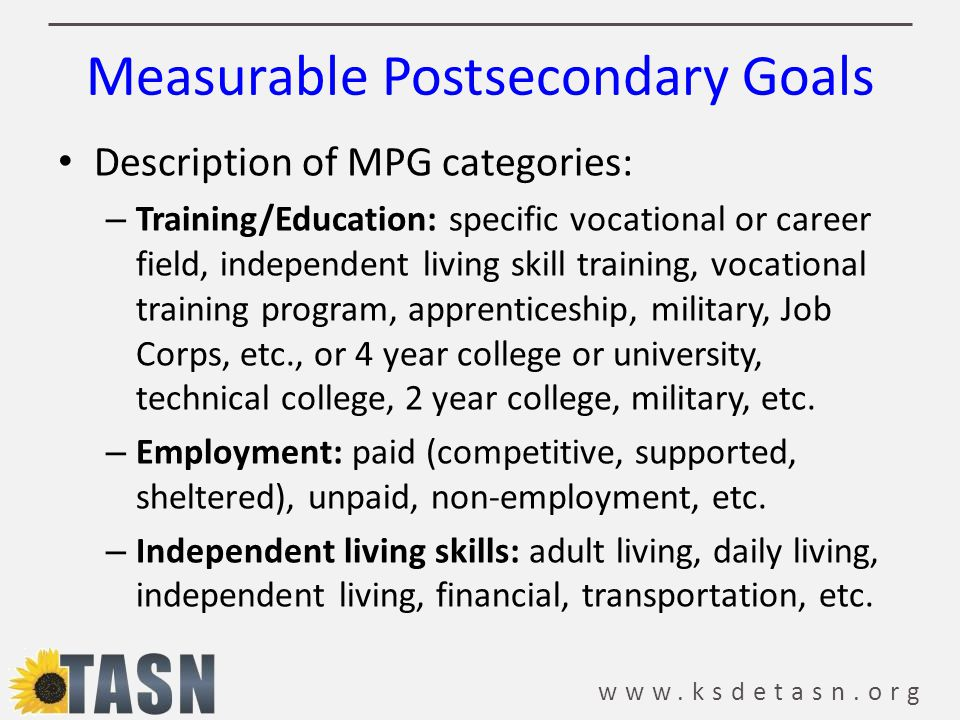 Measurable Postsecondary Goals