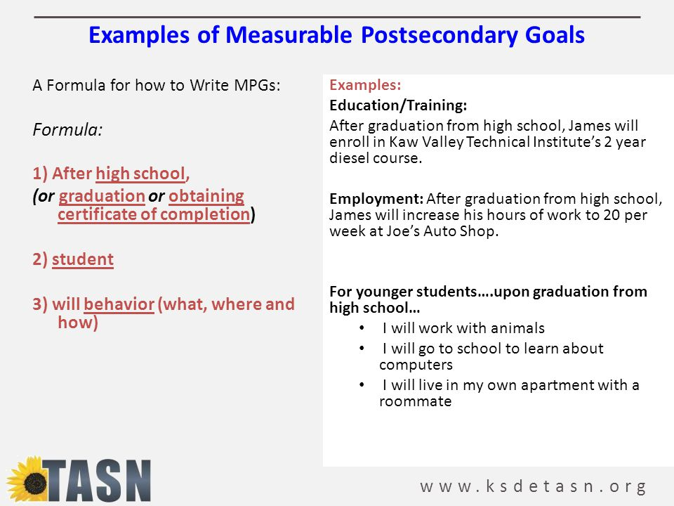 Examples of Measurable Postsecondary Goals