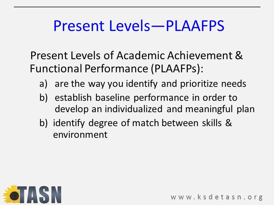 Present Levels—PLAAFPS