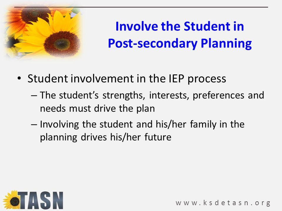 Involve the Student in Post-secondary Planning