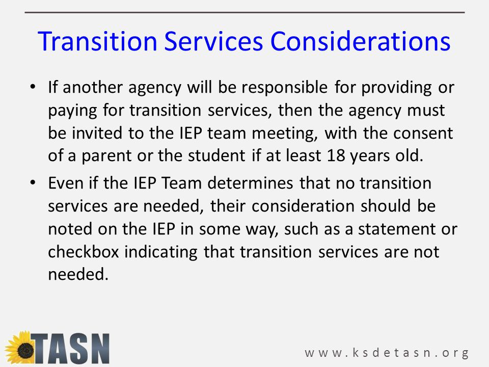 Transition Services Considerations
