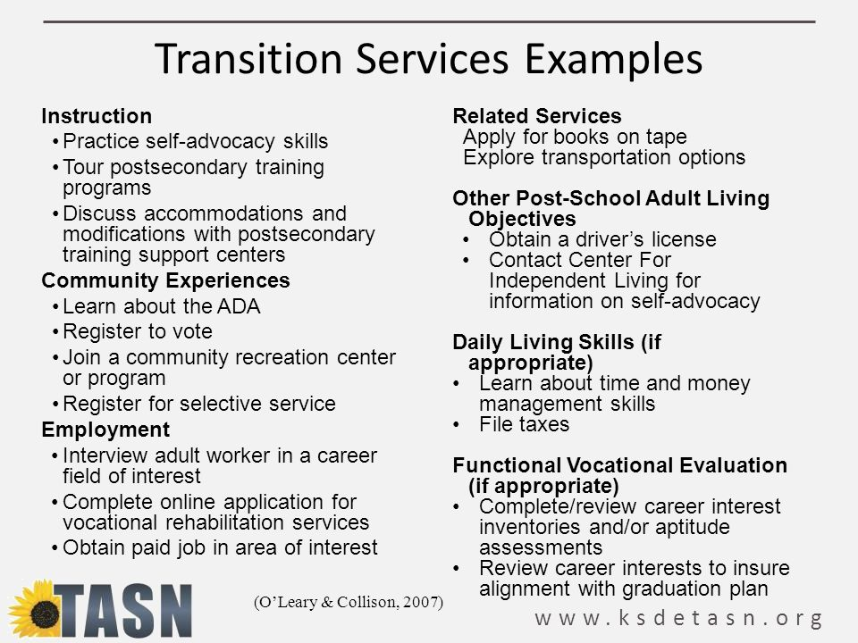 Transition Services Examples