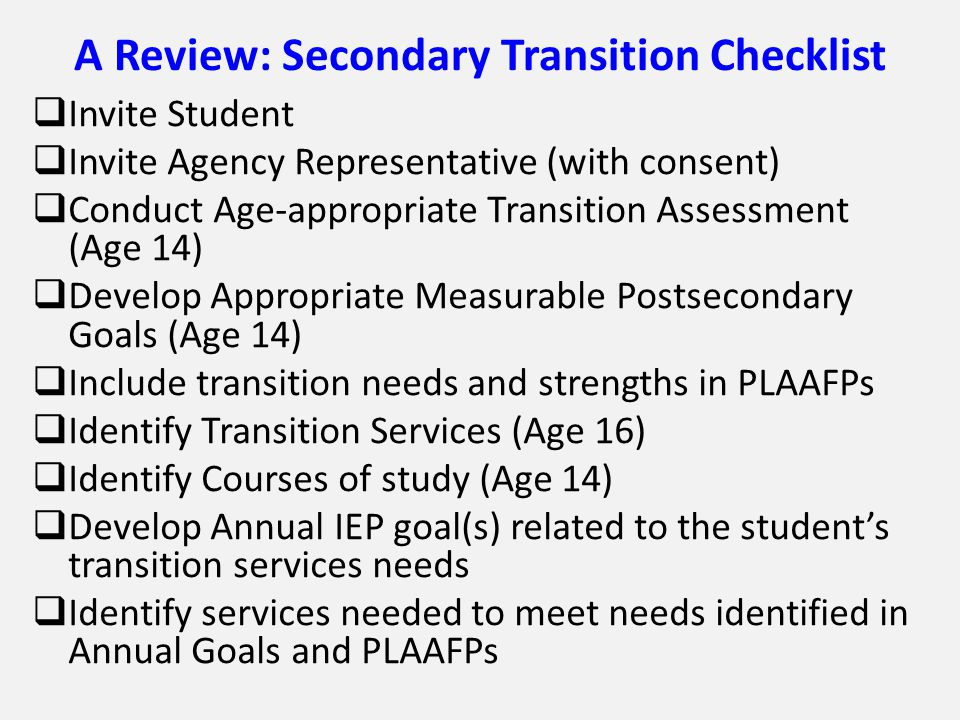 A Review: Secondary Transition Checklist