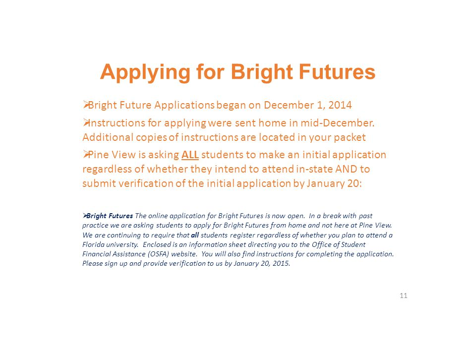 Applying for Bright Futures