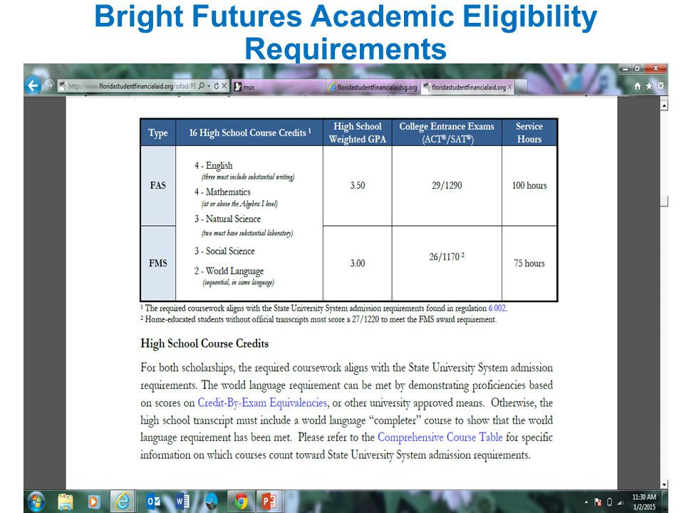 Bright Futures Academic Eligibility Requirements