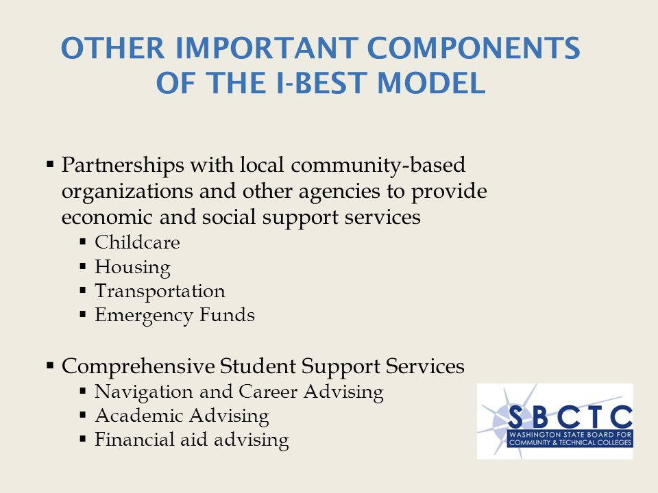 Other Important Components of the I-BEST Model