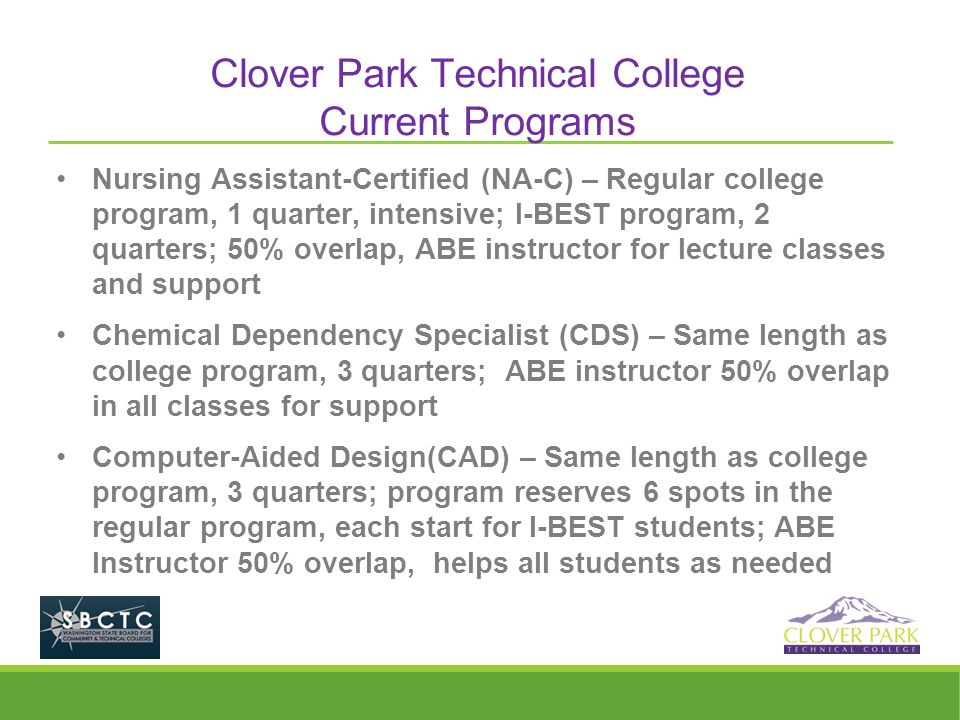 Clover Park Technical College Current Programs