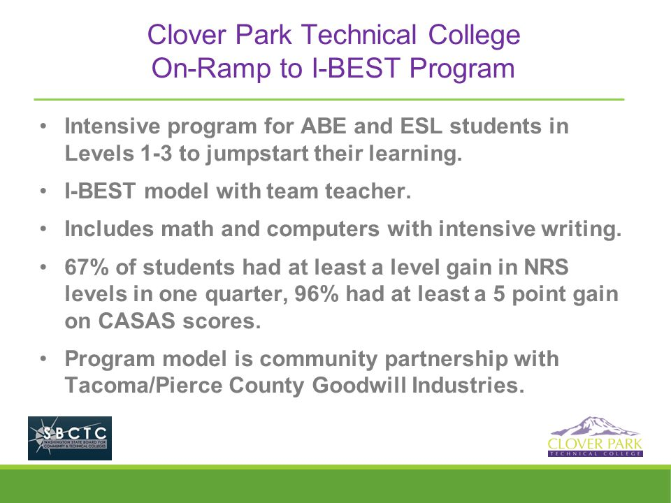 Clover Park Technical College On-Ramp to I-BEST Program