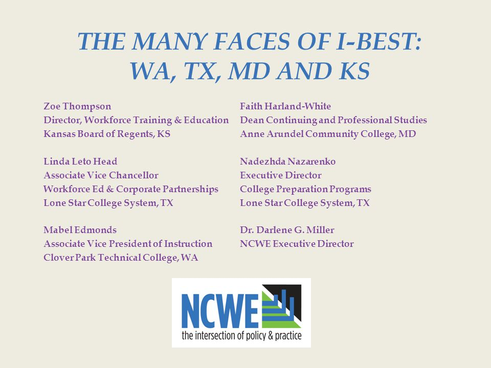 The Many Faces of I-BEST: WA, TX, MD and KS