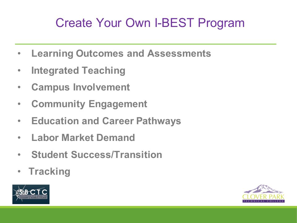 Create Your Own I-BEST Program