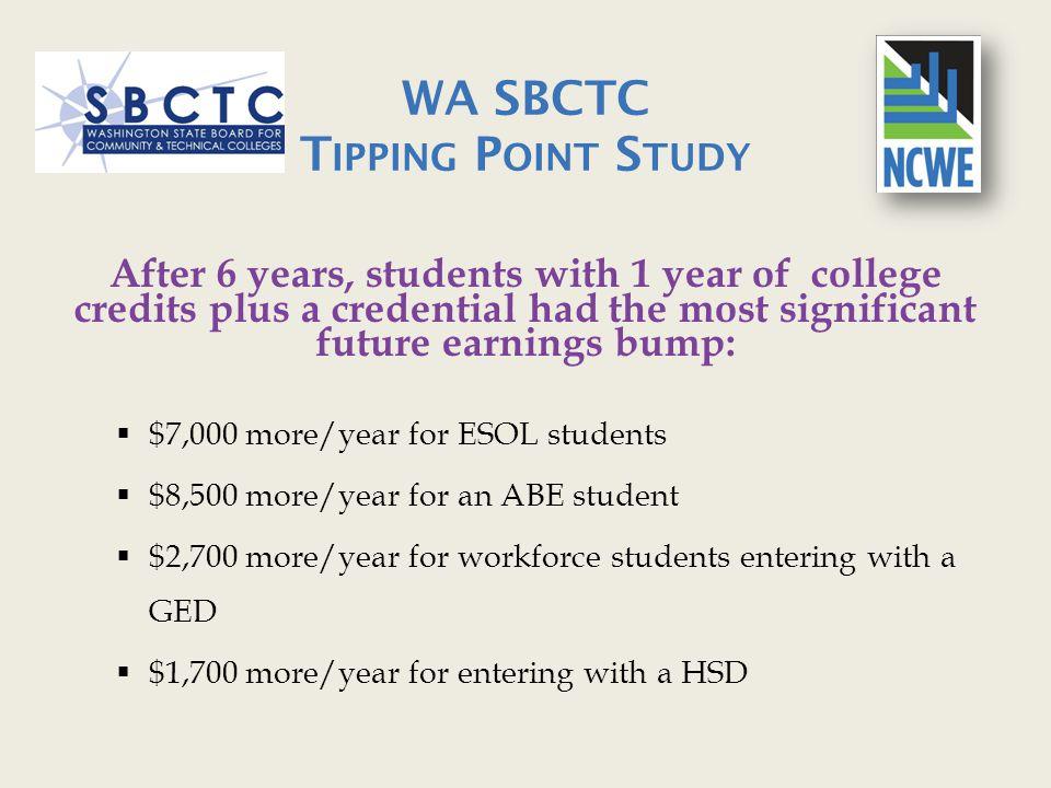 WA SBCTC Tipping Point Study