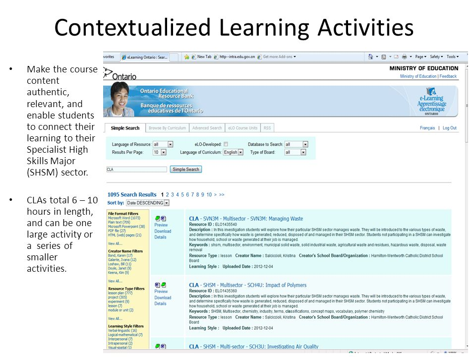 Contextualized Learning Activities