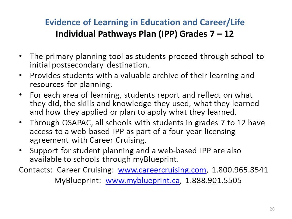 Evidence of Learning in Education and Career/Life