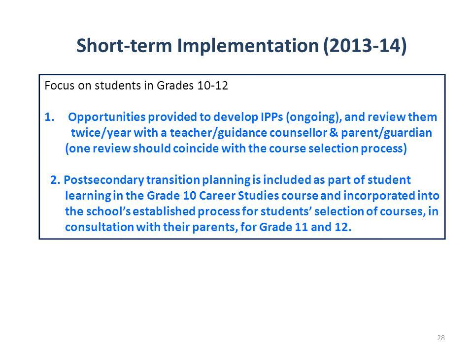 Short-term Implementation (2013-14)