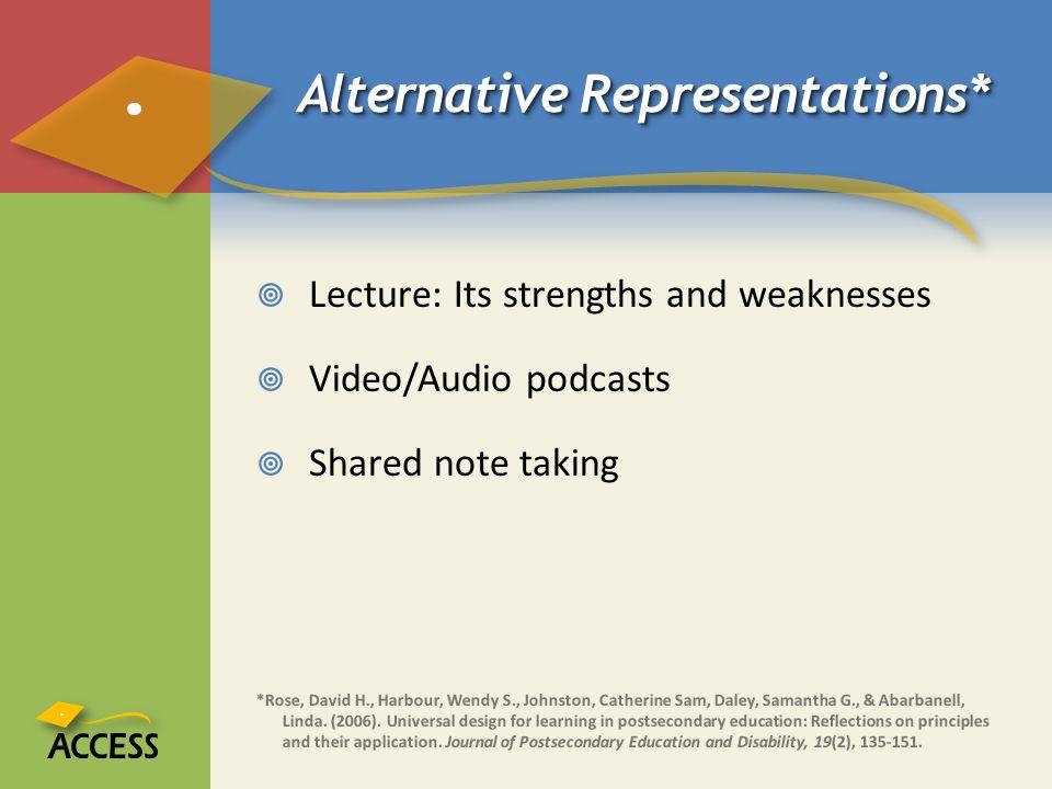 Alternative Representations*