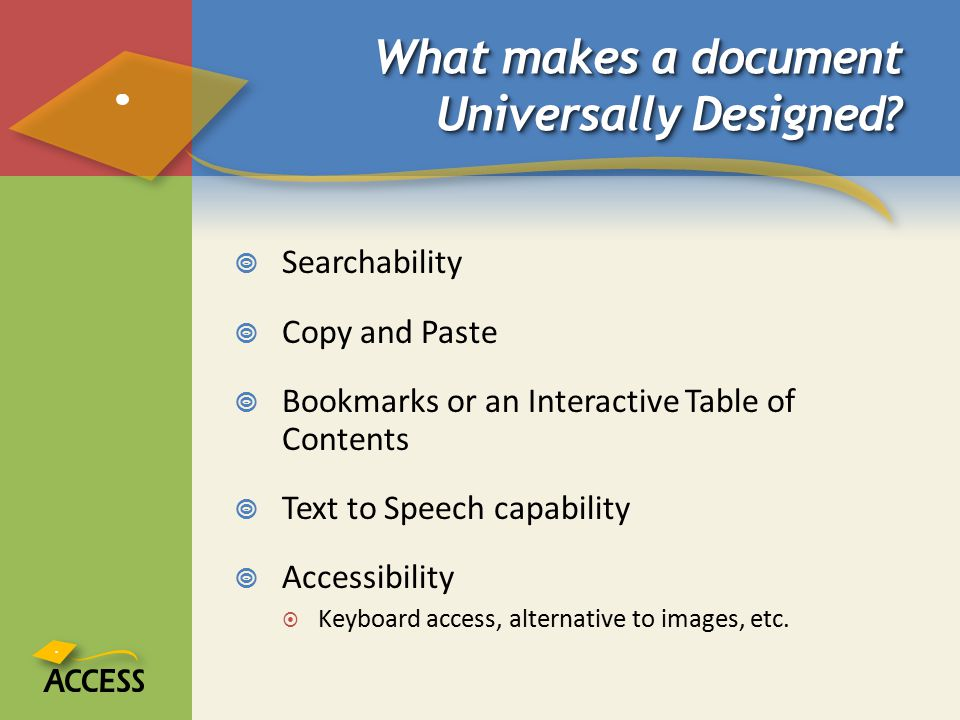 What makes a document Universally Designed