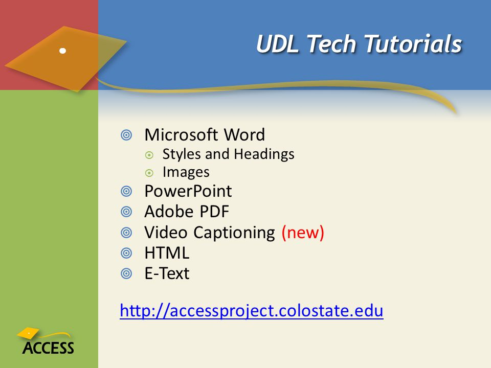 UDL Tech Tutorials Microsoft Word PowerPoint Adobe PDF