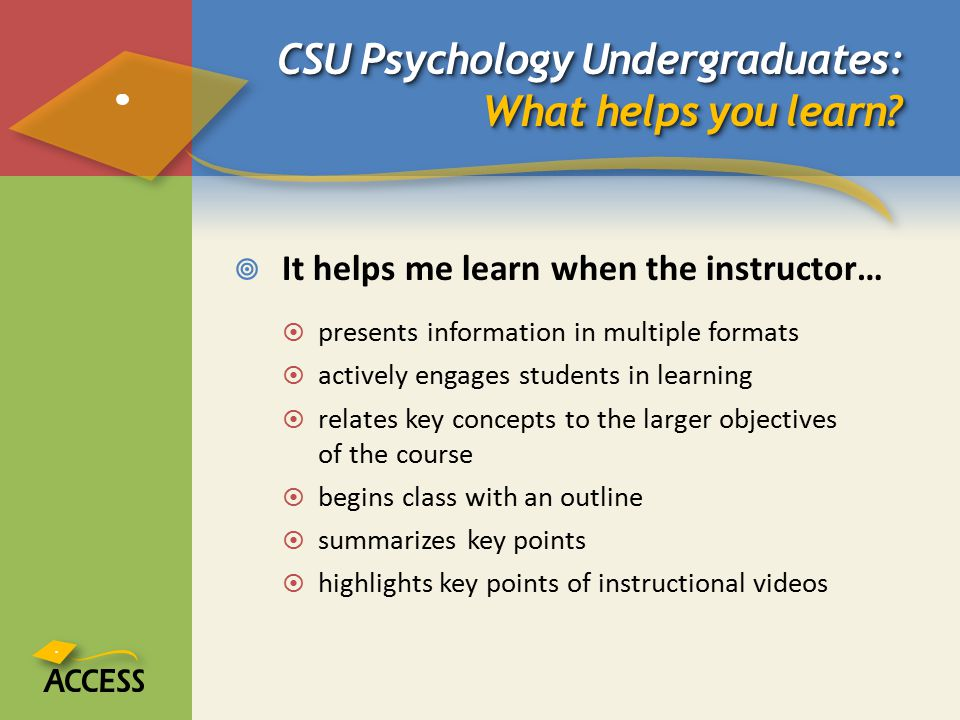 CSU Psychology Undergraduates: What helps you learn