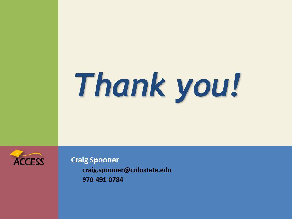 Craig Spooner craig.spooner@colostate.edu 970-491-0784