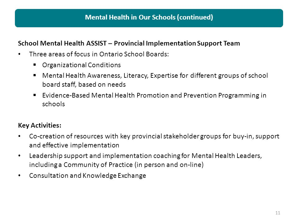 Mental Health in Our Schools (continued)