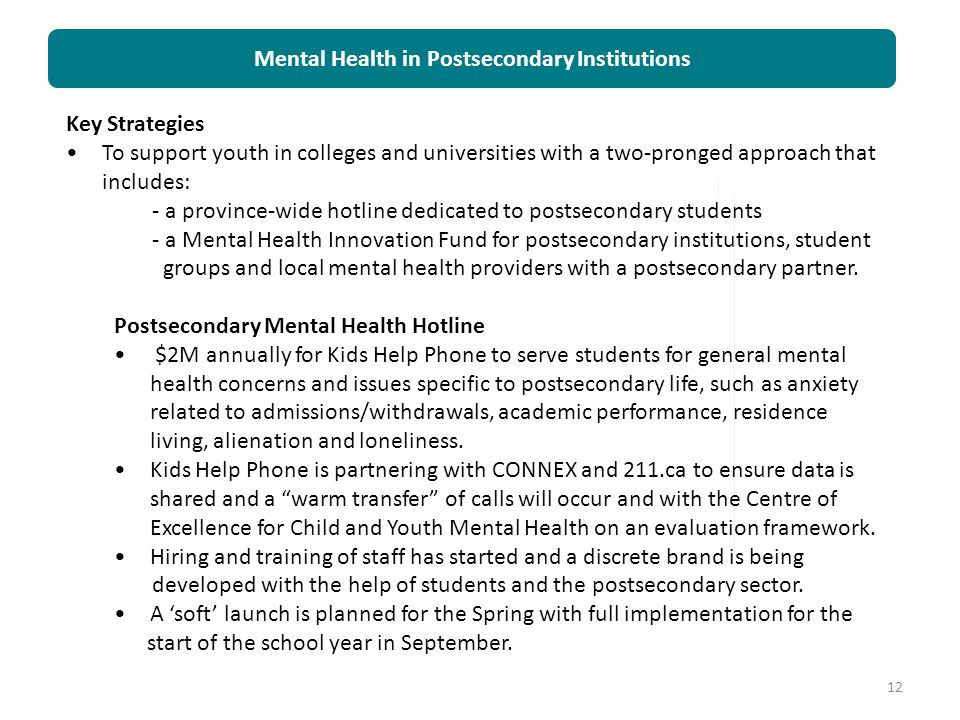 Mental Health in Postsecondary Institutions