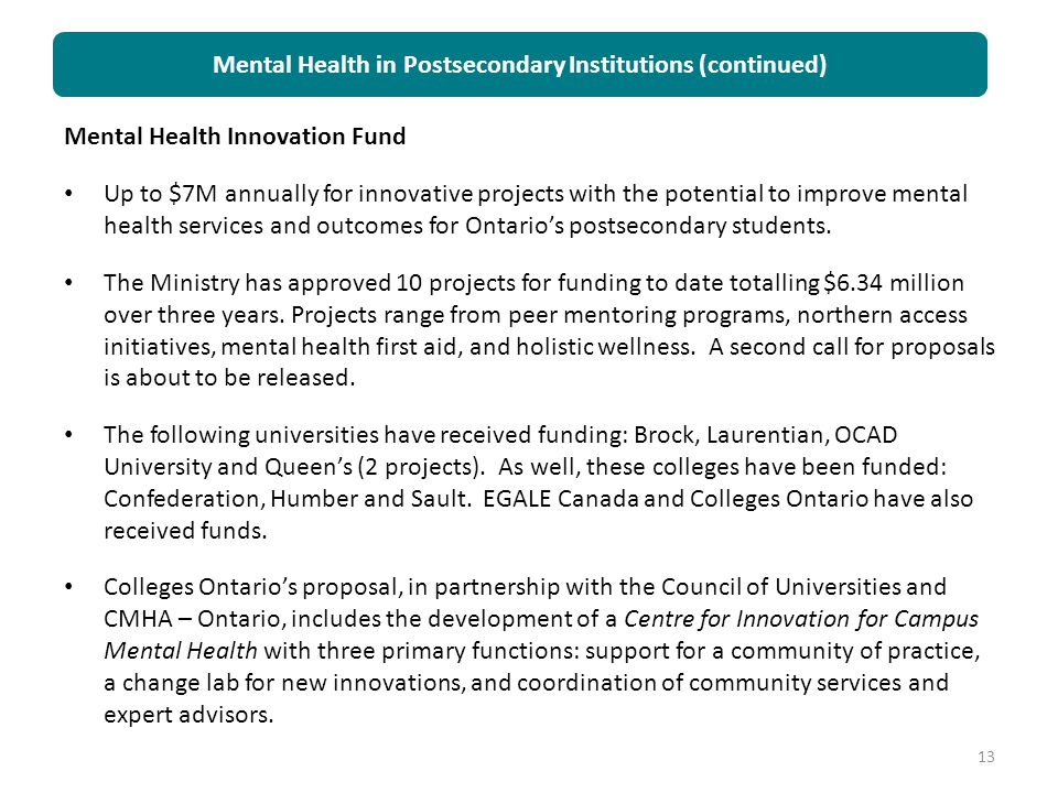 Mental Health in Postsecondary Institutions (continued)