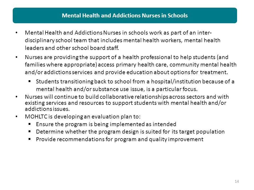 Mental Health and Addictions Nurses in Schools
