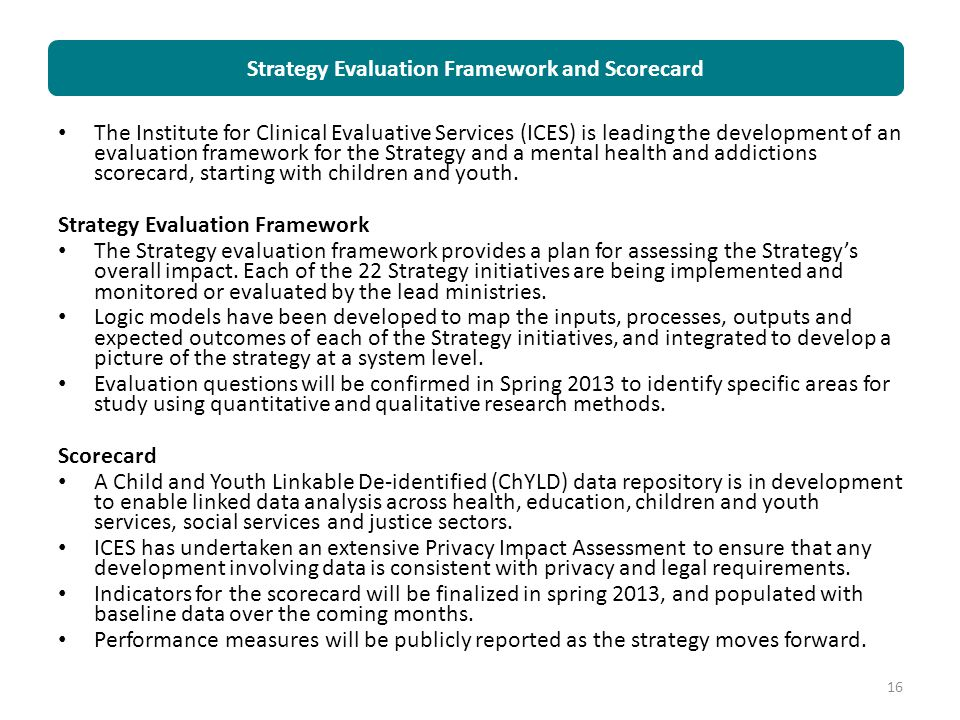 Strategy Evaluation Framework and Scorecard