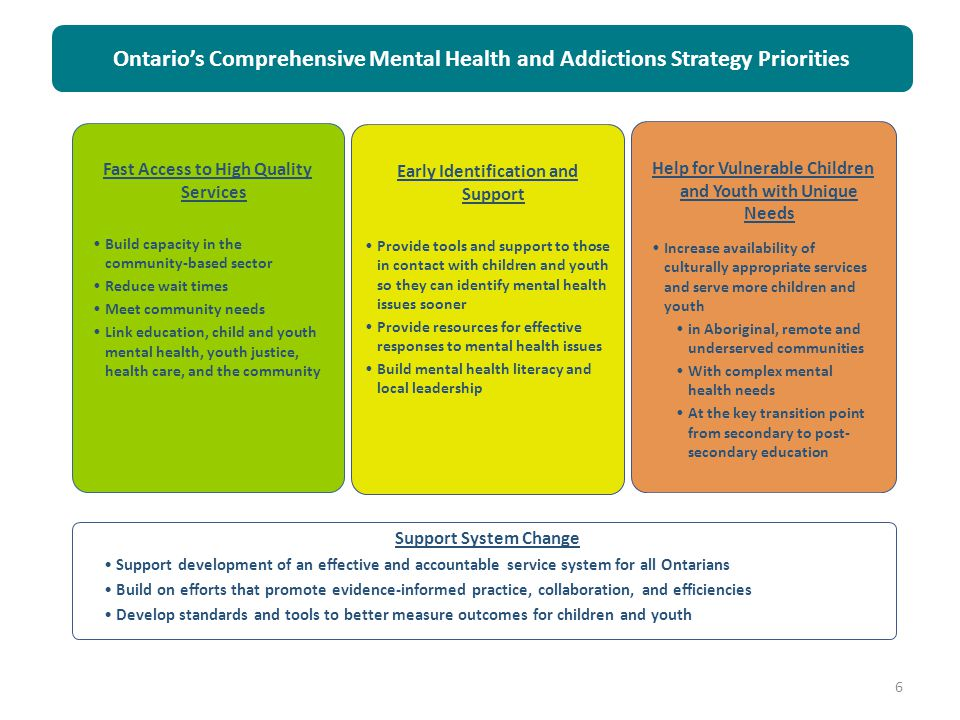 Ontario's Comprehensive Mental Health and Addictions Strategy Priorities