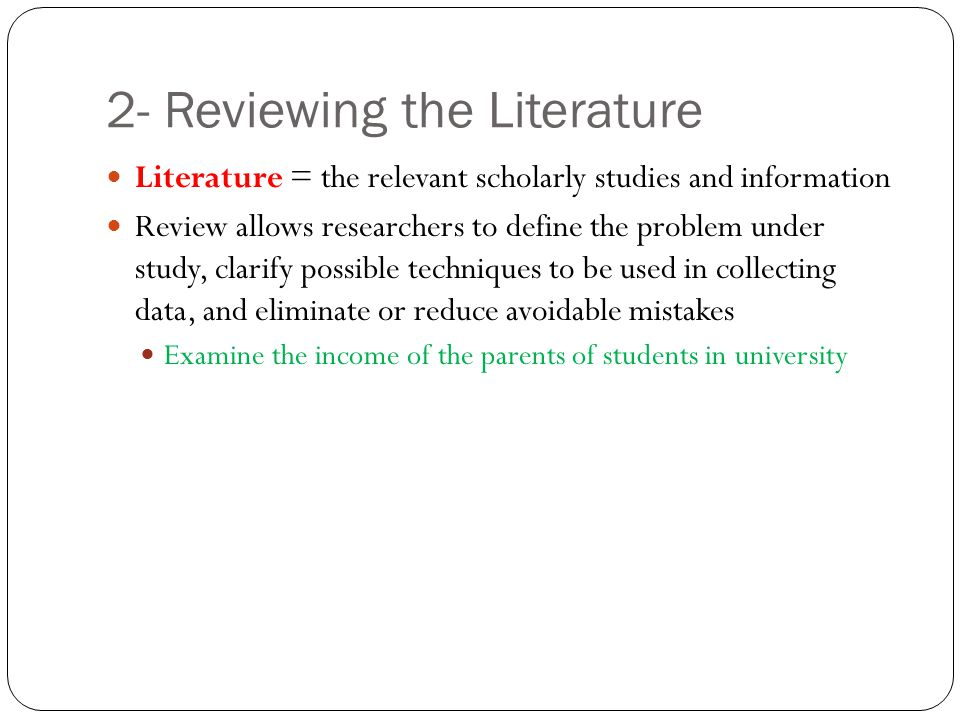 2- Reviewing the Literature