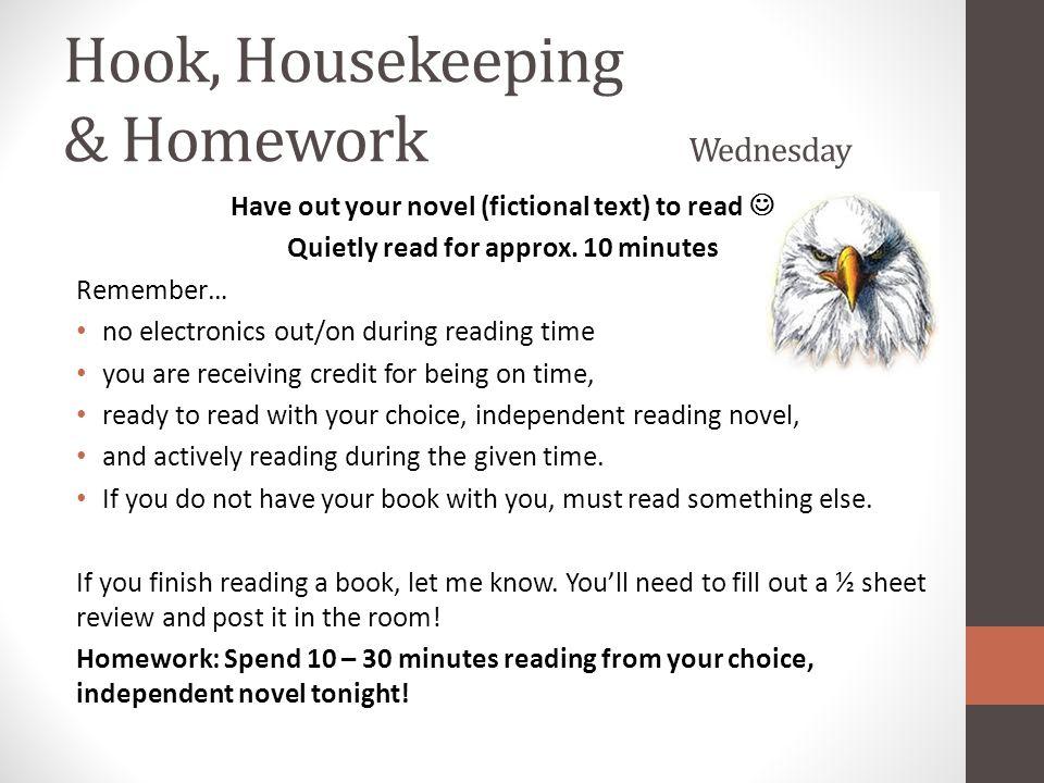 Hook, Housekeeping & Homework Wednesday