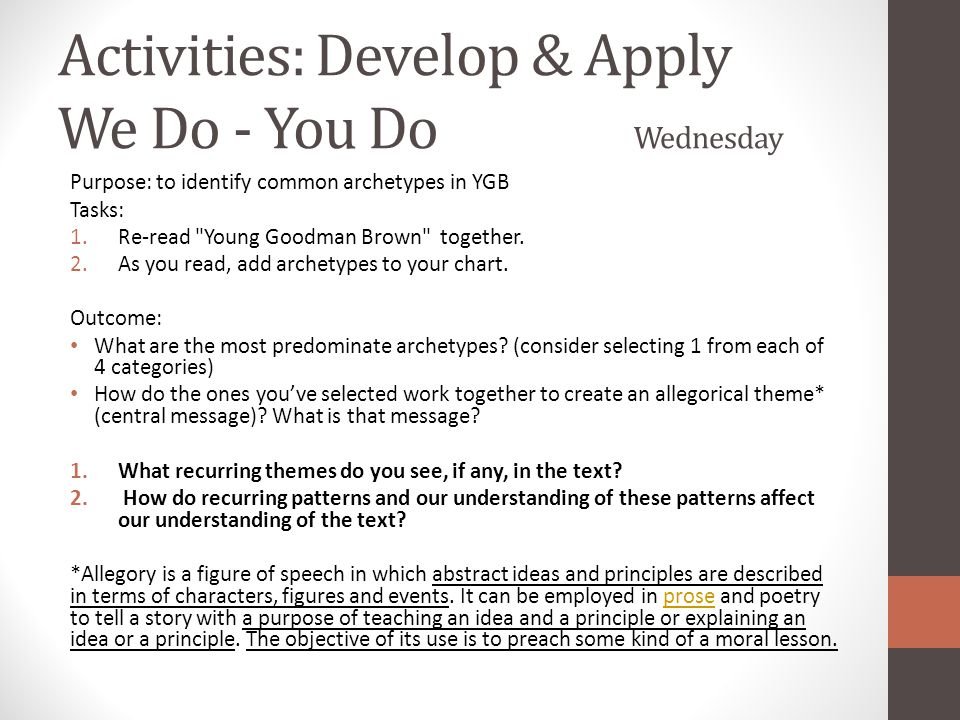 Activities: Develop & Apply We Do - You Do Wednesday