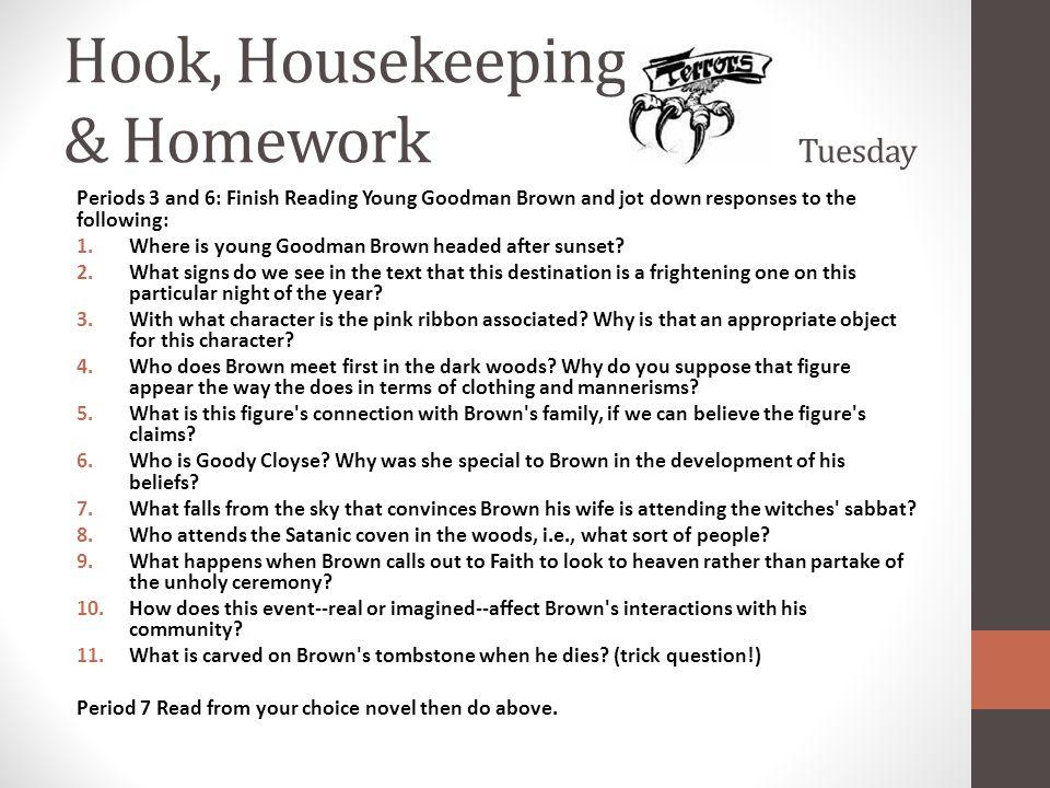 Hook, Housekeeping & Homework Tuesday