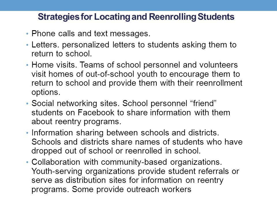 Strategies for Locating and Reenrolling Students