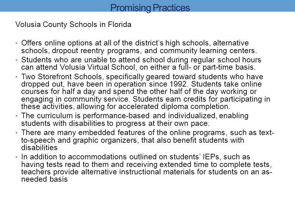 Promising Practices Volusia County Schools in Florida