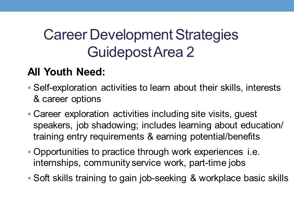 Career Development Strategies Guidepost Area 2