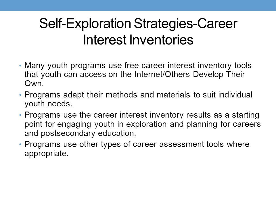 Self-Exploration Strategies-Career Interest Inventories